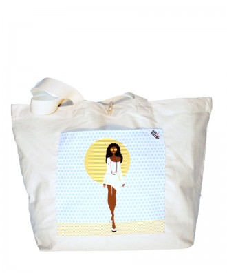 "Tote bag coton naturel L ""Golden"""